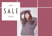 Pink Winter Fashion Store Sale Ad with Fashion Model Postkort