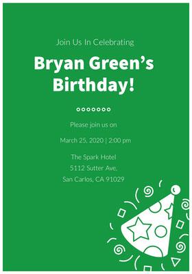 Bryan Green's <BR>Birthday! Birthday Invitation