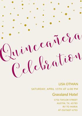 Elegant Calligraphy Quinceanera Birthday Invitation Card Birthday Invitation (Girl)