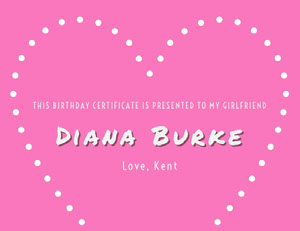 Pink and White Birthday Certificate Birthday Certificate