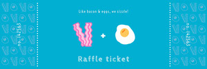 Blue Bacon and Eggs Valentines Day Party Raffle Ticket Boleto de sorteo