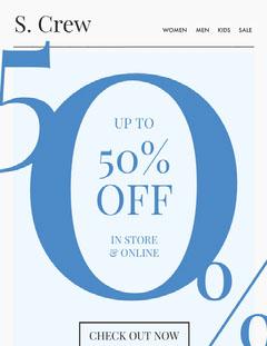 50% off Newsletter Promotion