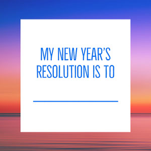 Pink and Blue Sunset over Sea with New Year Resolution Instagram Graphic Meme