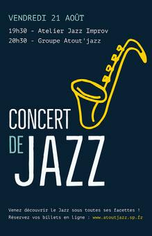 Yellow Saxophone Jazz Concert Poster  Affiche
