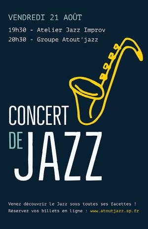 Yellow Saxophone Jazz Concert Poster  Affiche événementielle