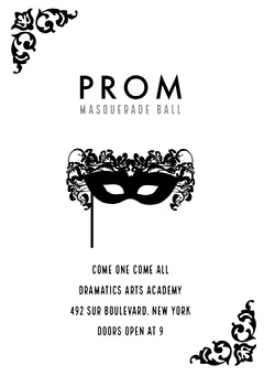 Black and White Prom Poster School Dance Flyer