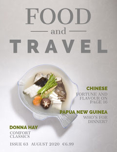 Grey, Light Toned Food and Travel Magazine Cover Food