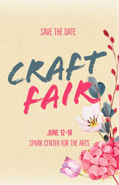 Yellow Floral Illustrated Craft Fair Flyer with Flowers Crafts