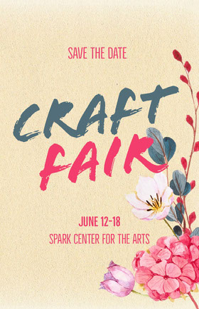 Yellow Floral Illustrated Craft Fair Flyer with Flowers Flyer