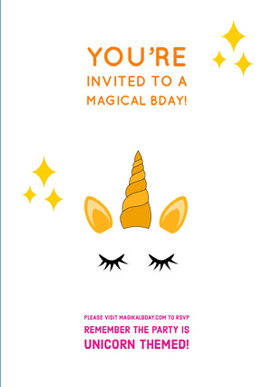 White Orange and Yellow Birthday Invitation Tarjeta de cumpleaños de unicornio
