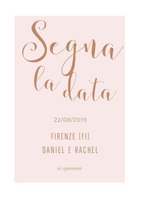 light pink save the date card Partecipazione