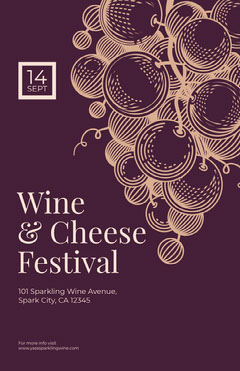 Violet and Brown Wine and Cheese Festival Poster Cheese