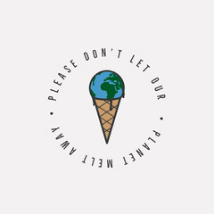 Planet Ice Cream Cone Melt Away IG Square Ice Cream Social Flyer