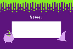 Violet and White Slime Halloween Party Name Tag Halloween Party Name Tag