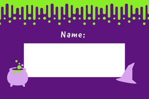 Violet and White Slime Halloween Party Name Tag Etichetta nome