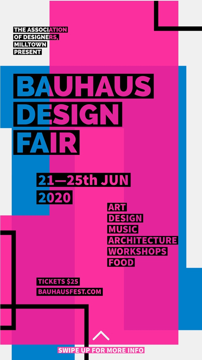 Blue and Pink Geometric Design Fair Instagram Story Idee per Volantini