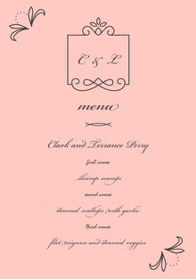 Pink and Black Wedding Menu Menu bruiloft