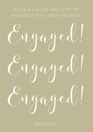 Beige Elegant Calligraphy Engagement Party Announcement Faire-part de fiançailles