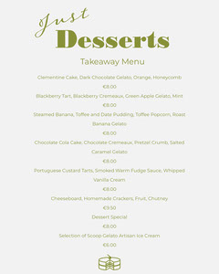 Green and White Dessert Restaurant Takeaway Menu Cakes