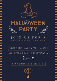 Blue and Yellow, Spooky Halloween Party Invitation Card Festa di Halloween