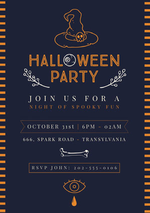 Blue and Yellow, Spooky Halloween Party Invitation Card Halloween Party