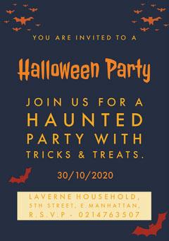 Halloween Spooky Bat Party Invitation Halloween Party Invitation