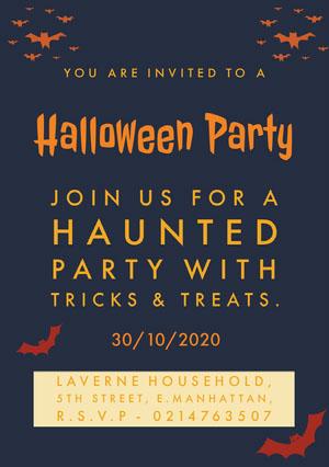 Orange and Black Halloween Spooky Bat Party Invitation Card 파티 초대장