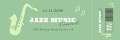 Green Jazz Music Concert Ticket Jazz