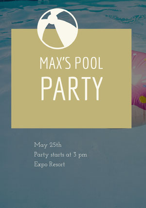 Beige and Blue Pool Party Invitation Party Invitation