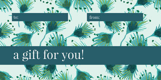 Blue and Green Floral Gift Tag Gavekort