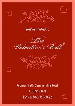 Red Elegant Calligraphy Valentines Ball Invitation Card Christmas Invitation
