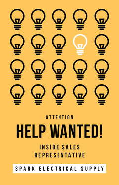 Yellow and Black Light Bulbs Help Wanted Poster Job Poster