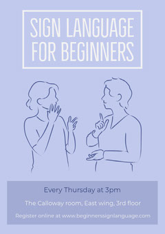 Blue Illustrated Sign Language Course Flyer Educational Course