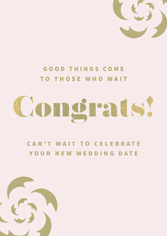 Pink and Gold Floral Wedding Congratulations Card Gold