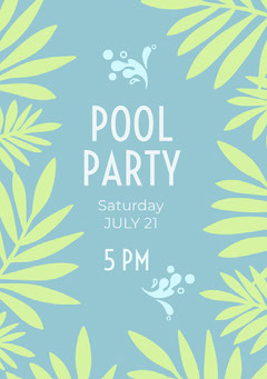 Blue and Green Pool Party Invitation Card with Leaves Party