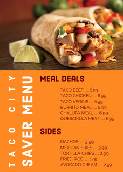 Orange With Photo Of Dish Restaurant Menu Deal