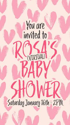 Pink Hearts Baby Shower Invitation Instagram Story Baby Shower (Girl)