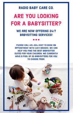 Blue Babysitting Service Flyer with Photo of Playing Baby Service