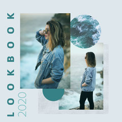 Blue & Grey Girl by the Sea Look Book Instagram Square Teal