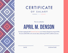 Salary Certificate Pattern Design