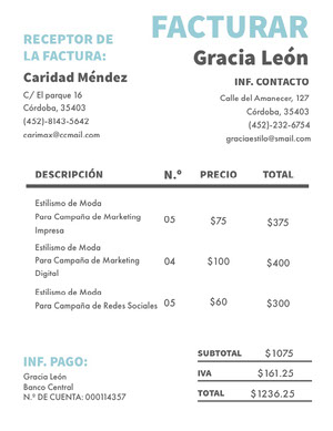 fashion styling invoice  Factura