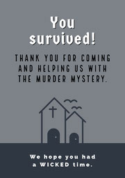 Grey and White Halloween Murder Mystery Party Thank You Card Festa di Halloween