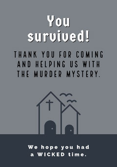 Halloween Murder Mystery Party Thank You Card Grey
