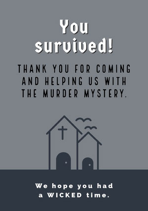 Grey and White Halloween Murder Mystery Party Thank You Card Halloween Party