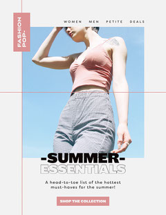 White and Pink Fashion Summer Essentials Newsletter New Collection
