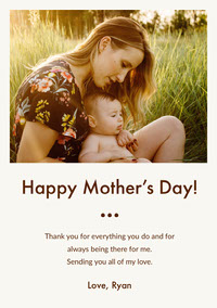 Mothers Day Card with Photo of Mother with Baby Thank You Messages