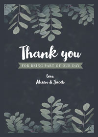 Grey and White Than You Card Thank You Messages