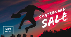 Black White and Red Skateboard Sale Advertisement Facebook Ads