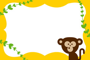 Yellow Illustrated Name Tag with Monkey Nimikortti