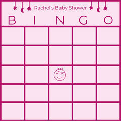 Pink Illustrated Baby Shower Bingo Card Baby Shower